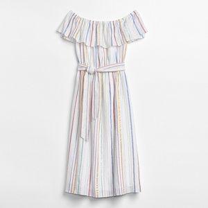 Gap Off-Shoulder Metallic Stripe Ruffle Midi Dress